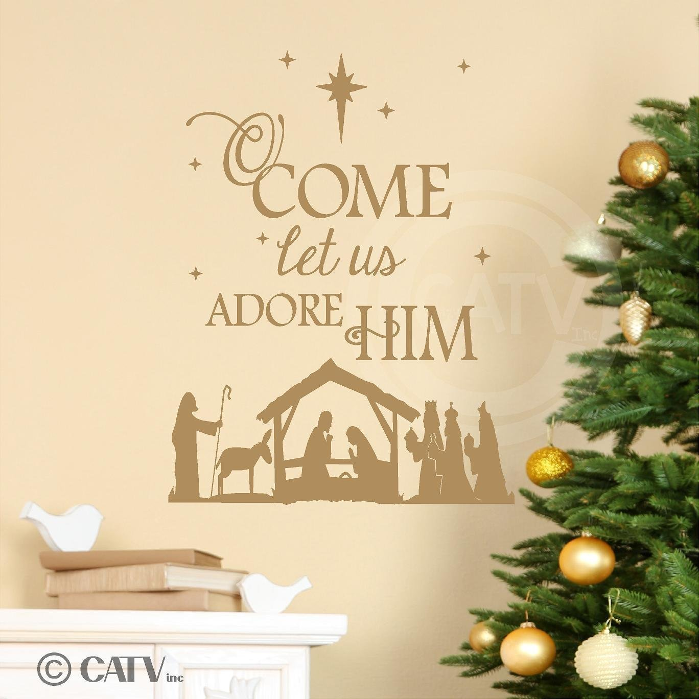 Nativity) O Come Let Us Adore Him wall saying vinyl lettering decal ...