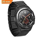 Per Huawei Watch 2 Cinturino, iBazal Huawei Watch 2 Watch Cinturini 20mm Smartwatch Bracciale Cinturino Acciaio Inox per Huawei Watch 2 (non per Huawei Watch) - Chiusura a Farfalla Nero