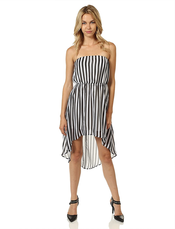 7Encounter Women's Chiffon Tube Dress Rounded Hi-Low Hem Black White Stripe
