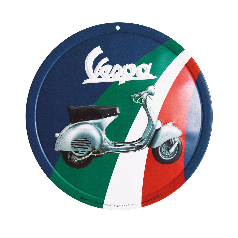 Vespa Redonda Cartel de Chapa, diseño con Texto Logo: Amazon ...