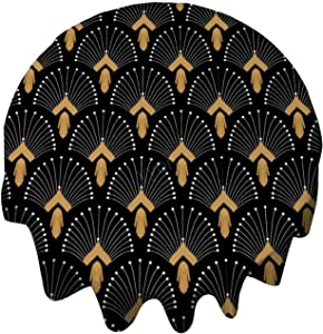 yyone Tablecloth Round 48 Inch Fashion Circle Table Cover Black, Gold and White Art Deco Fan Flowers Motif Table Cloth Decor for Buffet Table, Parties, Holiday Dinner, Wedding