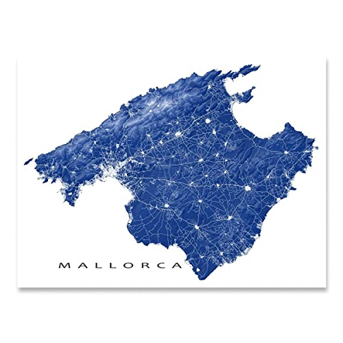 Amazon Com Mallorca Island Map Print Wall Art Poster Majorca