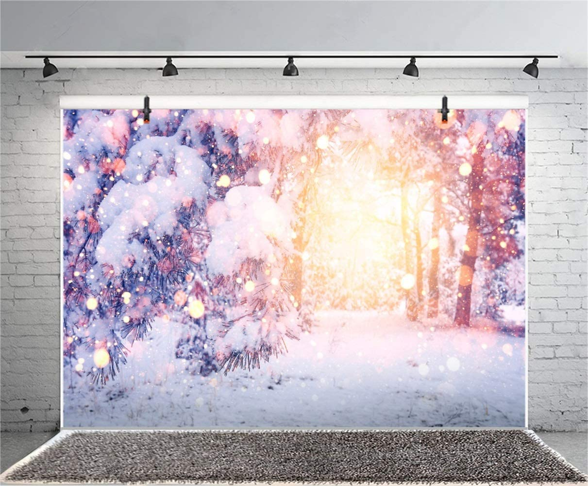 Dreamlike Snowy Forest Backdrop Vinyl 10x7ft Snow Capped Trees Shiny Sunshine Bokeh Haloes Background Xmas Party Banner Child Kids Baby Portrait Shoot Wallpaper