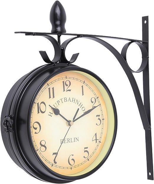 Paneltech Estilo Europeo Doble Reloj de Pared, hogar interior y exterior jardín moda estilo de doble cara reloj de pared (Negro): Amazon.es: Jardín