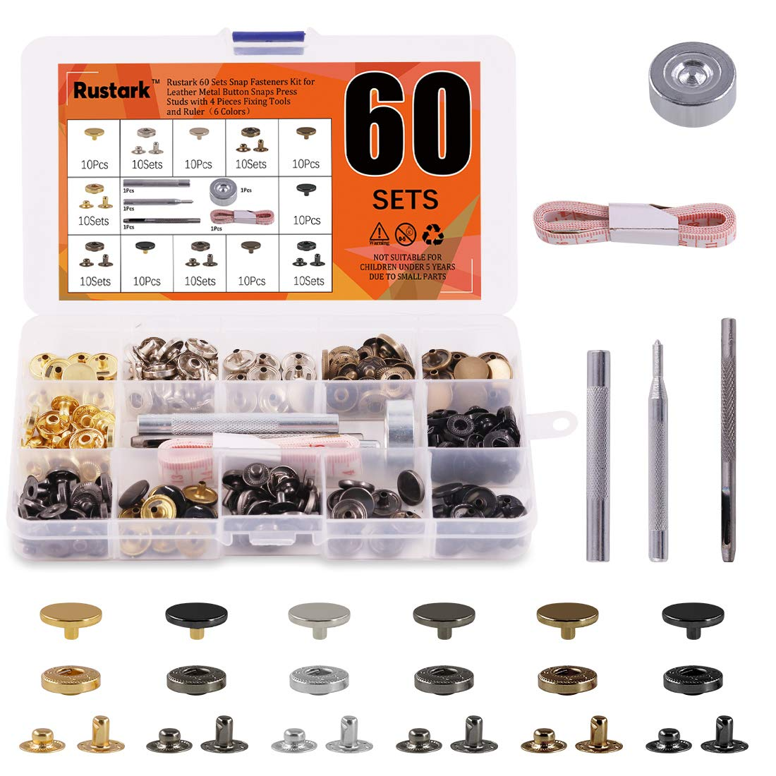 Rustark 60 Sets Snap Fasteners Kit for Leather Metal Button Snaps Press Studs with 4 Pieces Fixing Tools and Ruler Snap Rivet Fasteners for Clothing Coat Bracelet Jacket and Crafting (6 Colors)