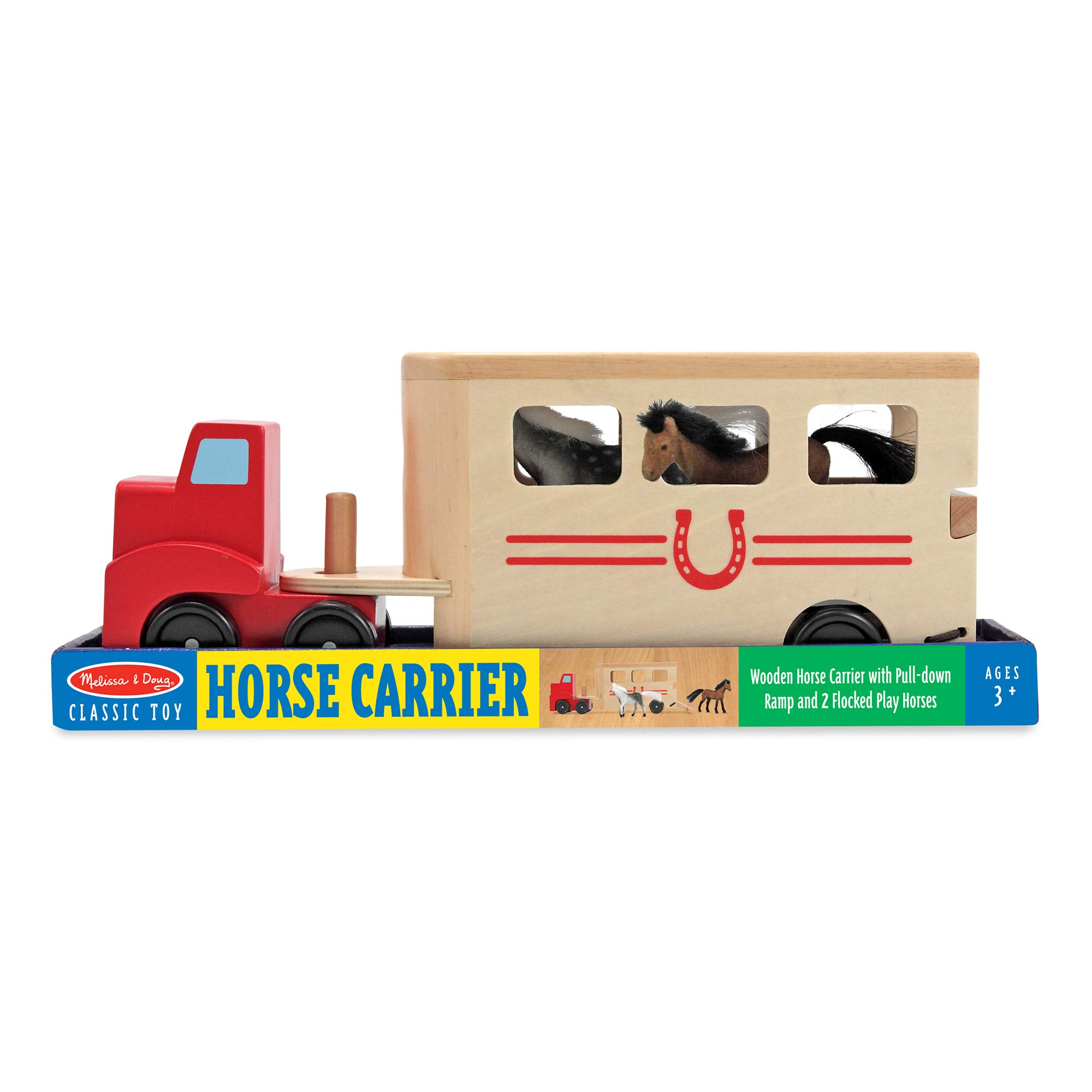 Melissa & Doug Horse Carrier Wooden Vehicle Play Set (Tractor-Trailer Truck Toy with 2 Horses, Pull-Down Ramp)