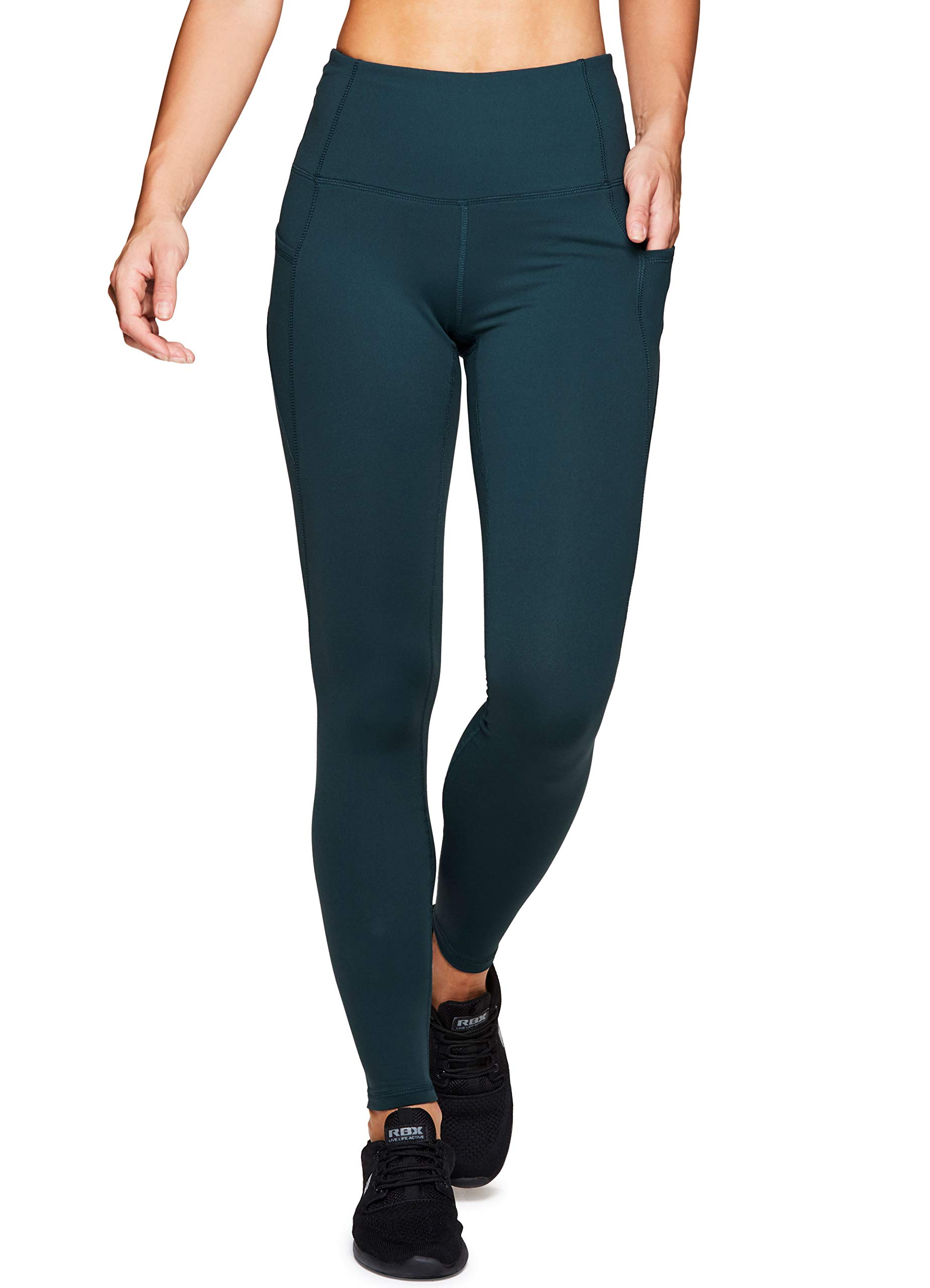 RBX Active Women's High Waisted Workout Leggings Green S19 L by RBX