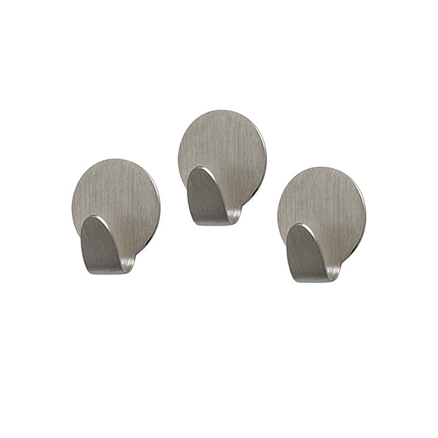 Spectrum Diversified Magnetic Medium Round Hooks, Set of 3, Brushed Nickel