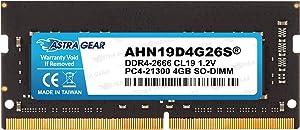 Astra Gear 4GB(4GBx1) 2666MHz(PC4-21300) DDR4 Gaming Laptop Notebook Computer Memory Upgrade Ram Module Non ECC-SO-DIMM 260 Pin(AHN19D4G26S)