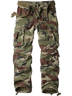 c47b7bdba2c chouyatou Women s Casual Camouflage Multi Pockets Cargo Pants at ...