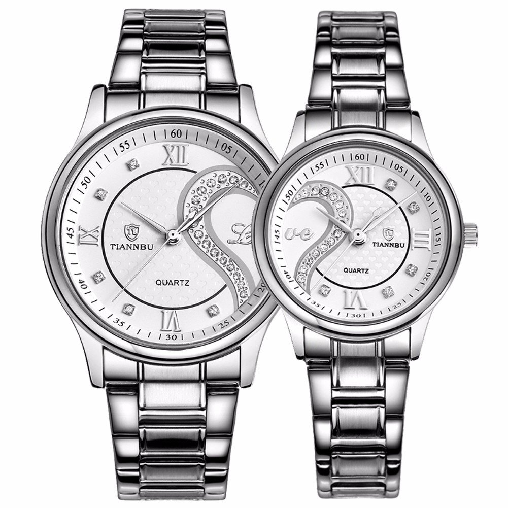 amazon valentines stainless steel romantic his and hers pair Euro Watches amazon valentines stainless steel romantic his and hers pair hearts wrist watches for man woman fq102 silvery white set of 2 dreaming q p watches