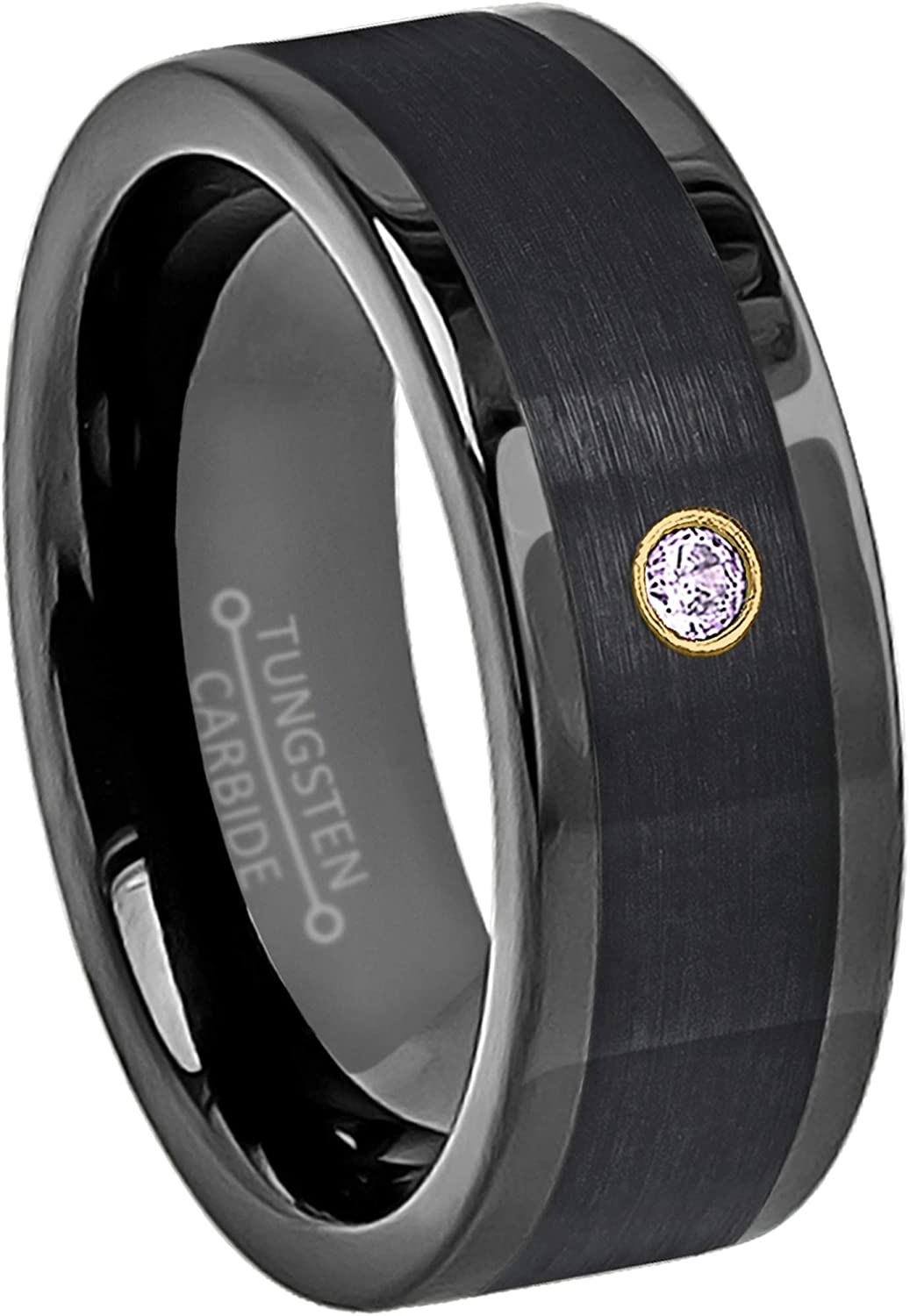8mm Pipe Cut Black Tungsten Wedding Band February Birthstone Ring 0.07ct Amethyst Solitaire Ring