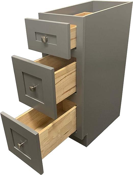 12 W X 21 D 3 Drawers Grey Shaker Bathroom Vanity Base Cabinet