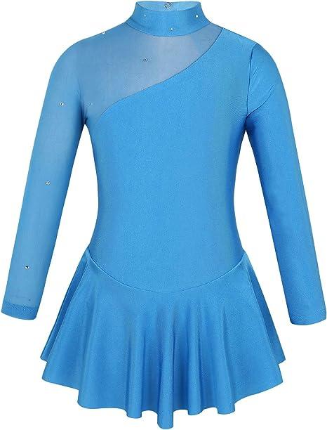 Alvivi Eiskunstlauf Kleid M/ädchen Ballettkleid mit Strass Rollschuhkleid Wettbewerb Gymnastik Tanzkleid Gymnastik Turnanzug