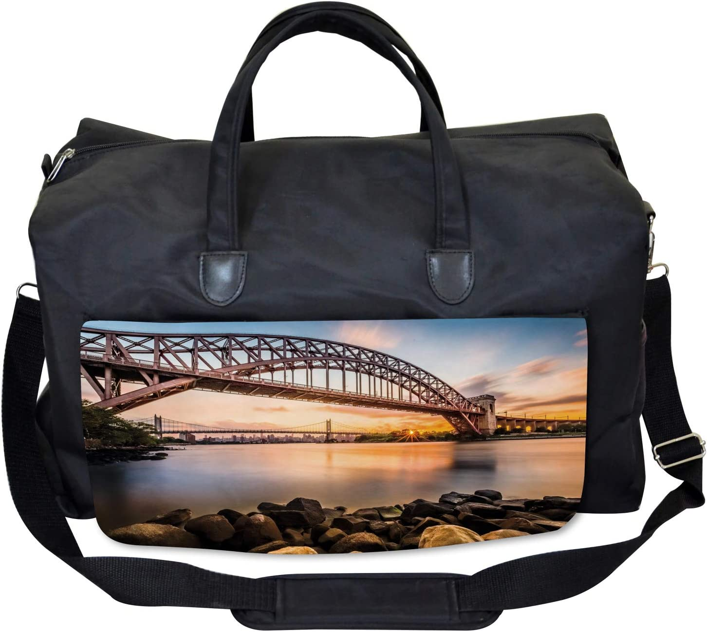 Large Weekender Carry-on Ambesonne New York Gym Bag Sunset Evening View