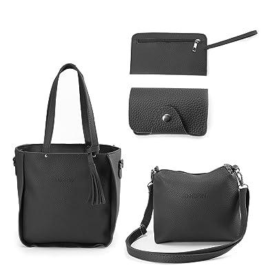 abf93c1811c5 4Pcs set Womens Ladies Leather Handbag Shoulder Tote Purse Messenger  Satchel Bag (Black)  Amazon.co.uk  Shoes   Bags