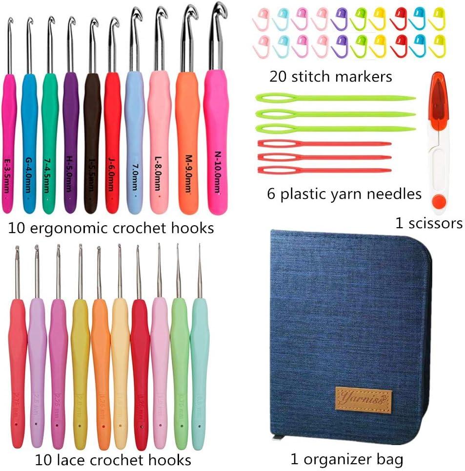 Juego de ganchos de ganchillo con 14 piezas de mango de pl/ástico de color Gancho de ganchillo de aluminio y accesorios para herramientas de costura para la oficina en casa Tejido artesanal de bricolaj