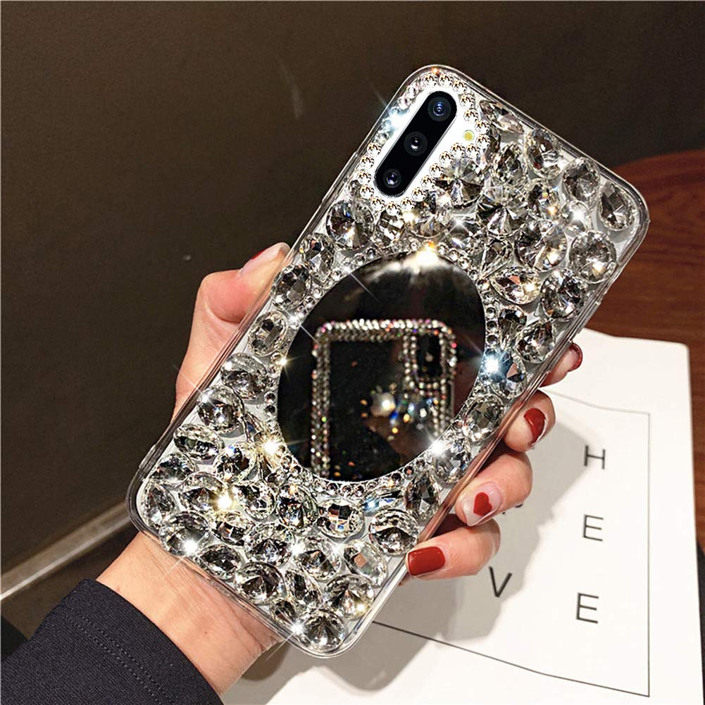 Diamond Case for Galaxy Note 10 Plus,3D Handmade Bling Rhinestone Diamonds Sparkle Mirror Case Girls Women Full Crystals Bling Soft TPU Bumper Case Cover for Galaxy Note 10 Plus Mirror Case,Clear by ikasus