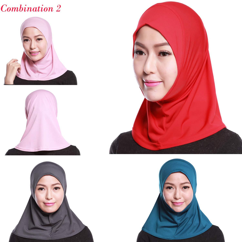 4Pcs Islamic Turban Head Wear Hat Underscarf Hijab Full Cover Muslim Cotton Hijab Cap in 4 Colors (D) by HANYIMIDOO (Image #1)