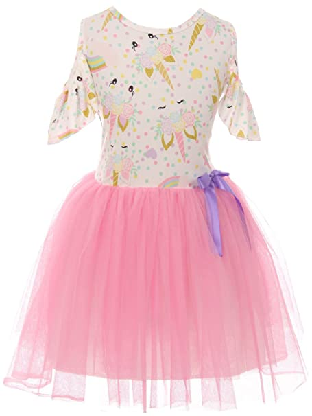 Amazon.com: Pequeñas niñas Lovely unicornio frío hombro tul ...