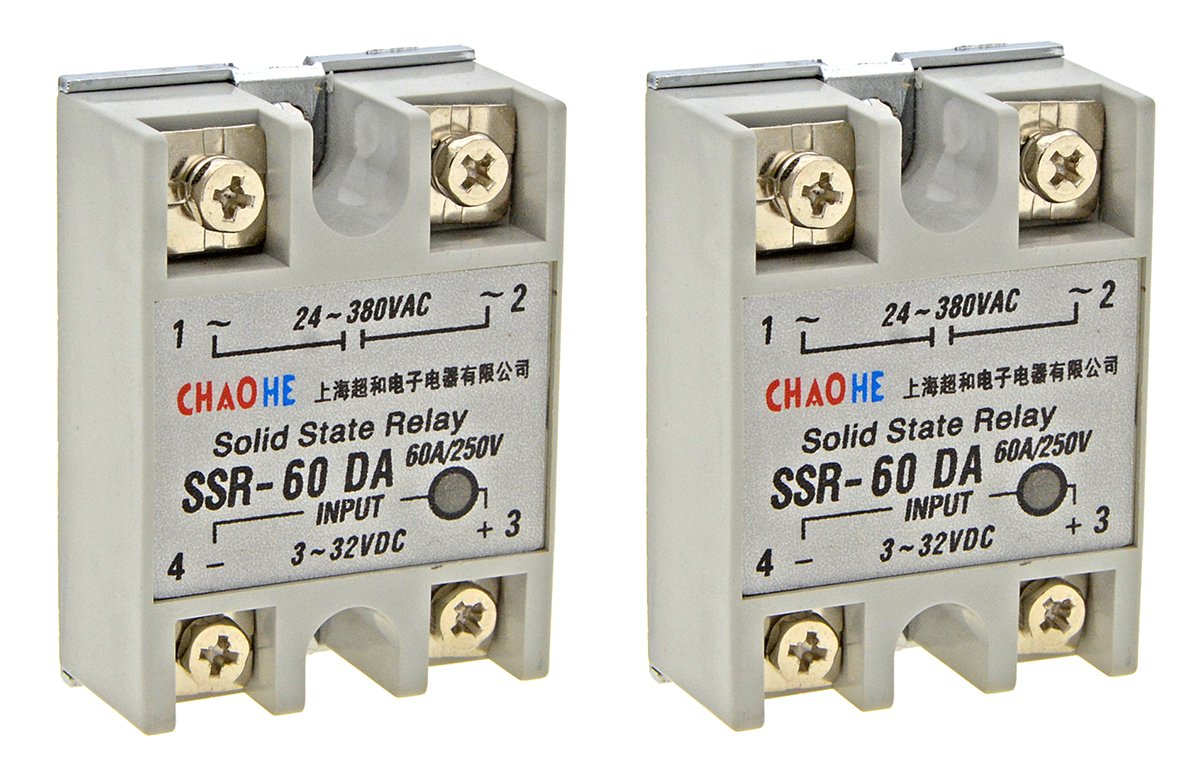 YXQ Solid State Relay SSR-60DA Single Phase Module Machinery Small AC Exchange Type Electronic Controller, Input 3-32VDC Output 24V-380VAC, 2-Piece