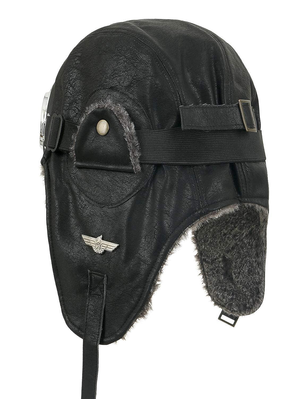 ililily Howels Faux Leather Aviator Trapper Trooper Faux Fur Ear Flaps Hat