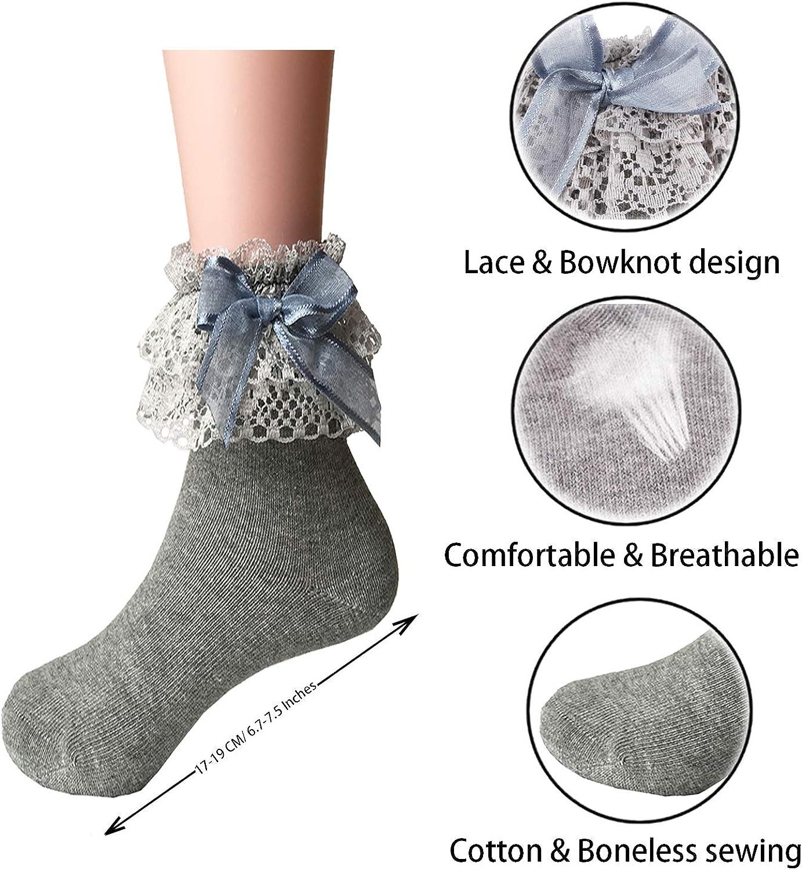 Little Girls Sweet Princess Style Cotton Trim Ruffle Lace Top Dress Socks