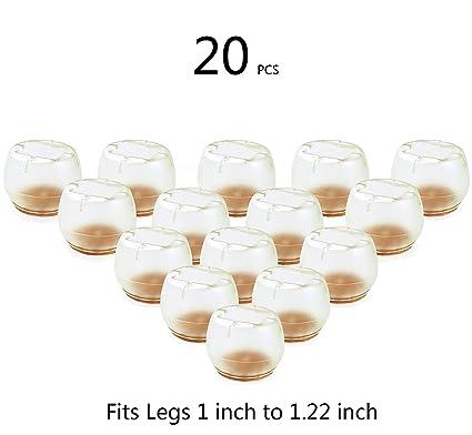 TEKEFT 20 PCS Clear Round Plastic Chair Leg Caps Feet Pads Furniture Table  Covers Floor Protectors
