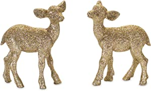 Melrose International Deer Gold Tone 4 inch Resin Stone Christmas Holiday Figurines Set of 2