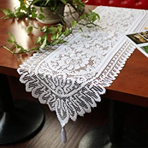 Tinsow 2 Pack Cotton Crochet Lace Rectangular Table Runner Dresser Scarf Doilies (Style A-2)