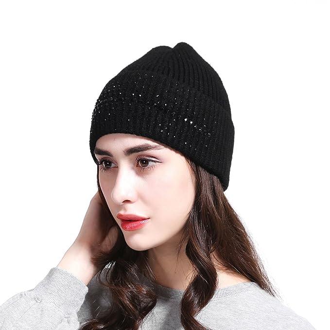 a4c0676ce02d JOOWEN Women s Wool Knit Fold Over Beanie Embellished with Rhinestones Winter  Hat (Black)
