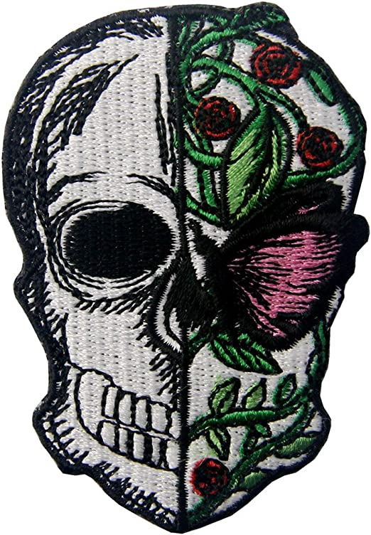 Half Skull Half Butterfly And Flower Applique Embroidered Badge Iron On Sew On Patch