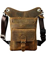 Genda 2Archer Men's Leather Bumbag Waist Belt Drop Leg Cross Over Bag