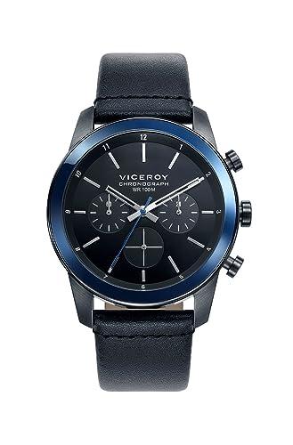 Viceroy Reloj Cronógrafo para Hombre de Cuarzo con Correa en Cuero 46725-57: Amazon.es: Relojes