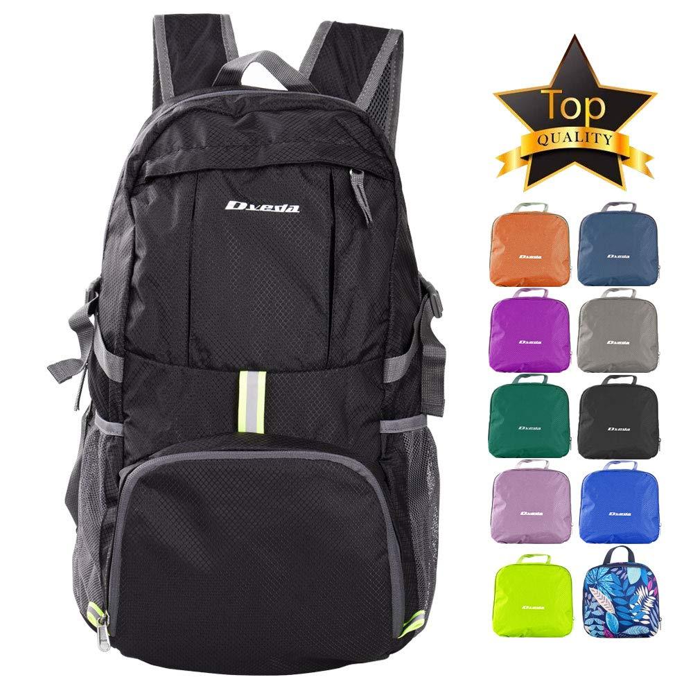 Dveda Ultra Lightweight Packable Backpack, 35L Large Capacity Water Resistant Hiking Daypack Foldable Travel Backpack for Men Women Outdoor,Black by Dveda