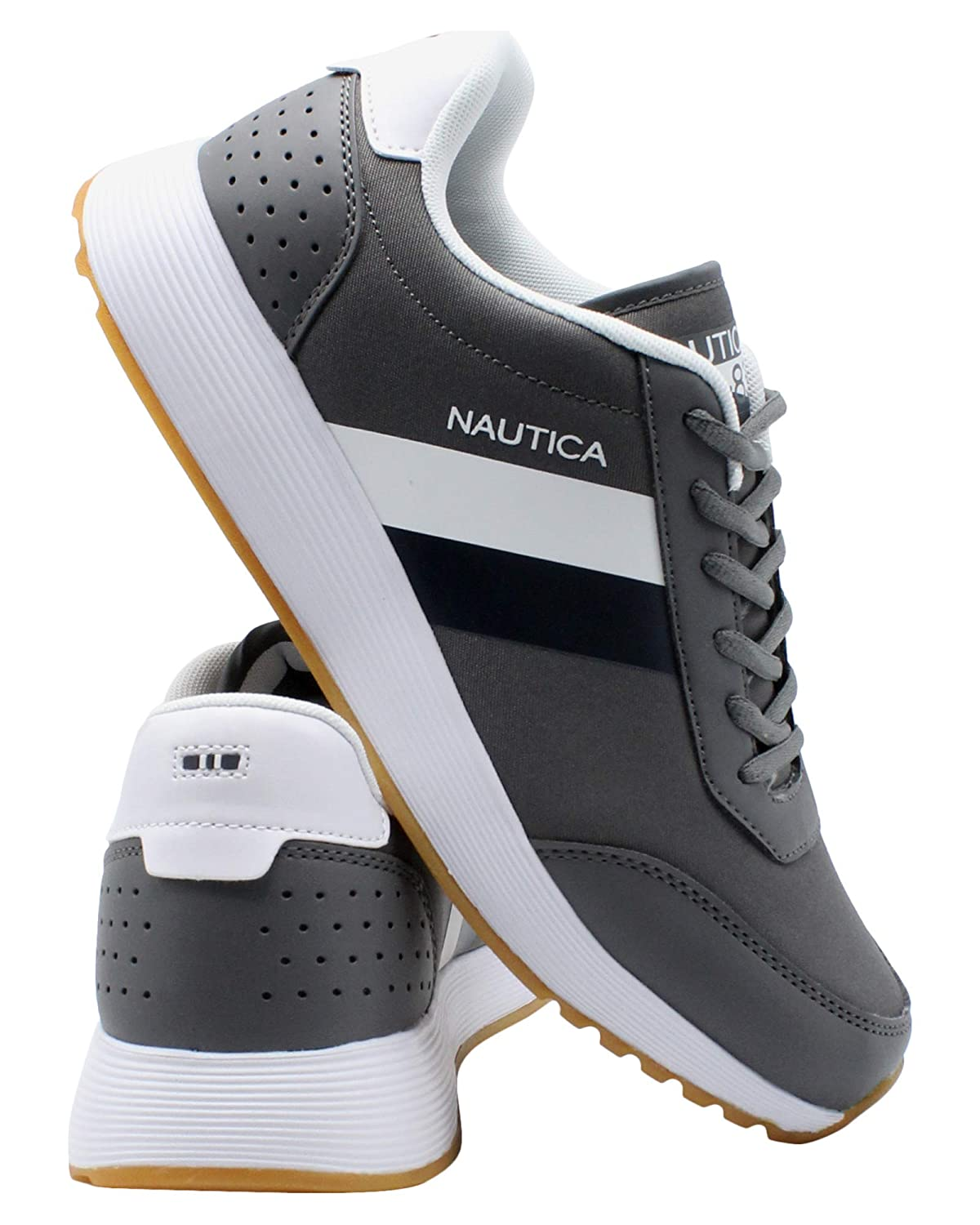 Charcoal Navy White Nautica Men's Casual Lace-Up Fashion Sneakers Oxford Comfortable Walking shoes