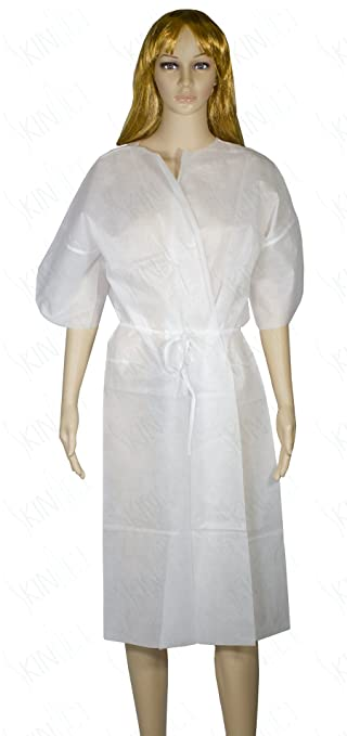 Amazon.com: Disposable Nonwoven Short Sleeve Long Patient Gown with ...