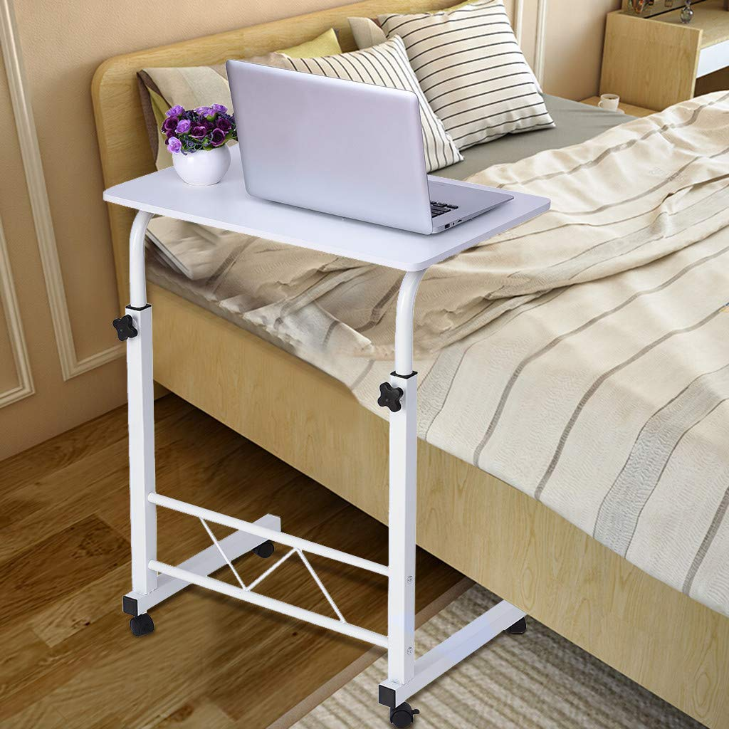 US Fast Shipment Quaanti Laptop Cart Home Rolling Over Bed Sofa Side Table Height Adjustable Mobile Laptop Stand Desk Laptop Overbed Table Food Tray Rolling Desk Holder with Wheels (White)