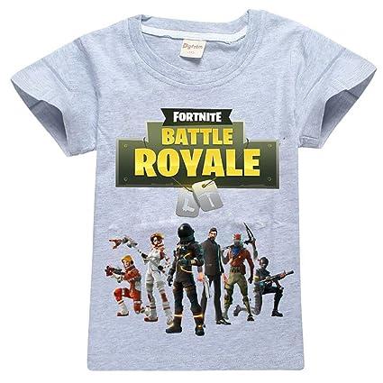 fortnite Batalla Royale Niños Camisetas, 100% algodón, transpirable, Gris