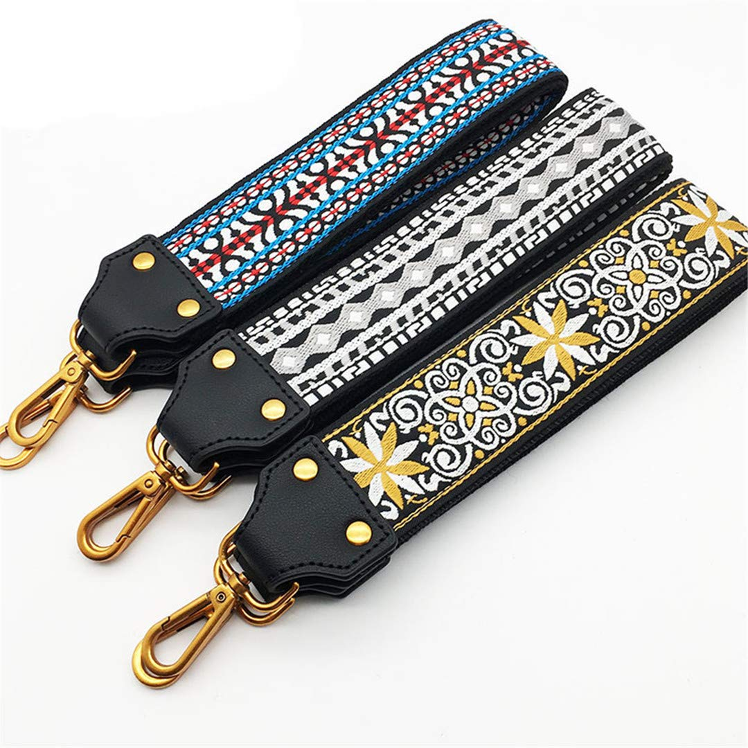 Fashion Embroidery Wide Shoulder Bag Strap Female Handbag Straps You For Bags Accessories Colorful Straps For Handbags Belt Blue silver buckle