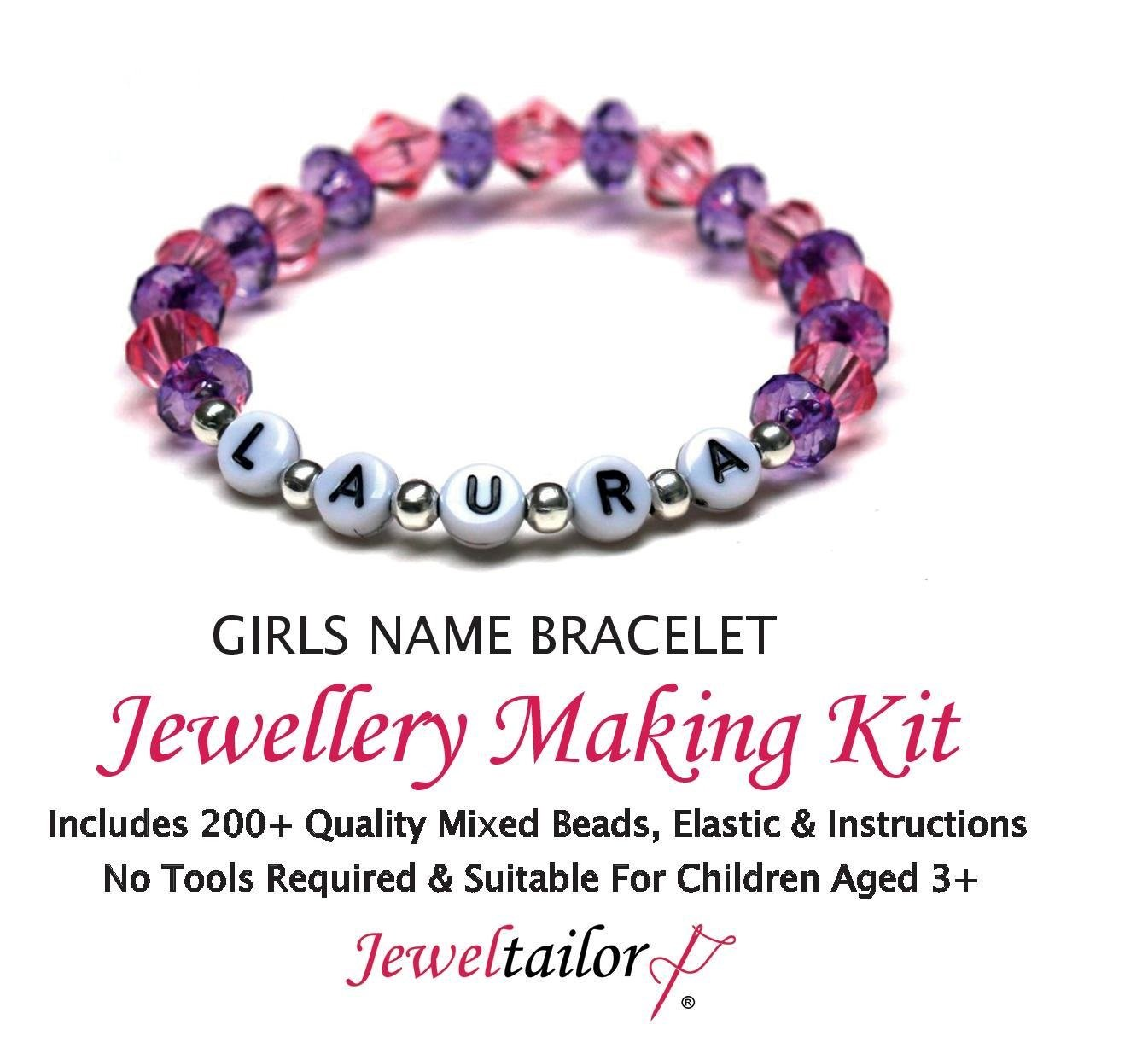 Jeweltailor Girls Name Bracelet Jewellery Making Kit With 200