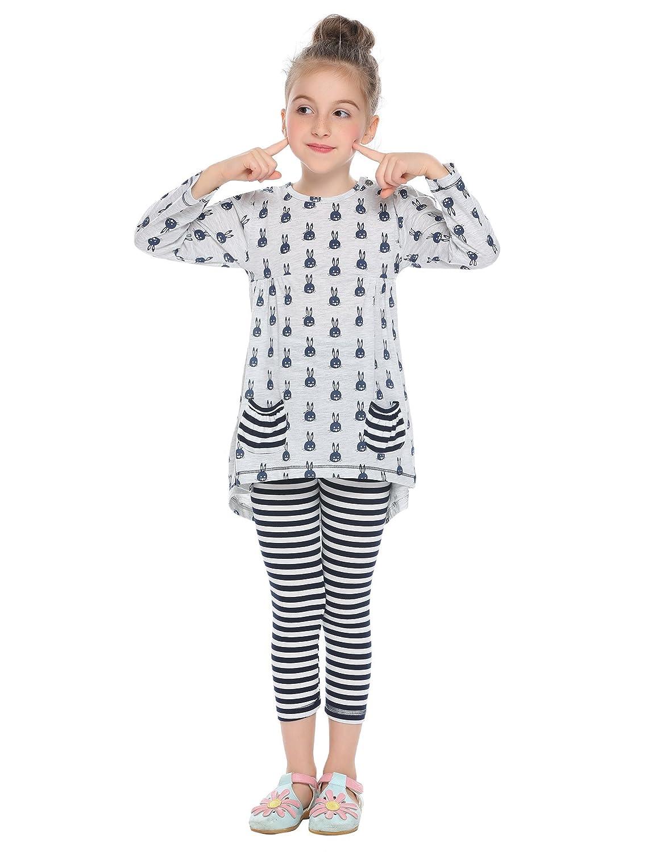 Arshiner Little Girls Clothing Sets Bunny Long Sleeve Outfits 2 PCS Top Leggings Pajamas Sets