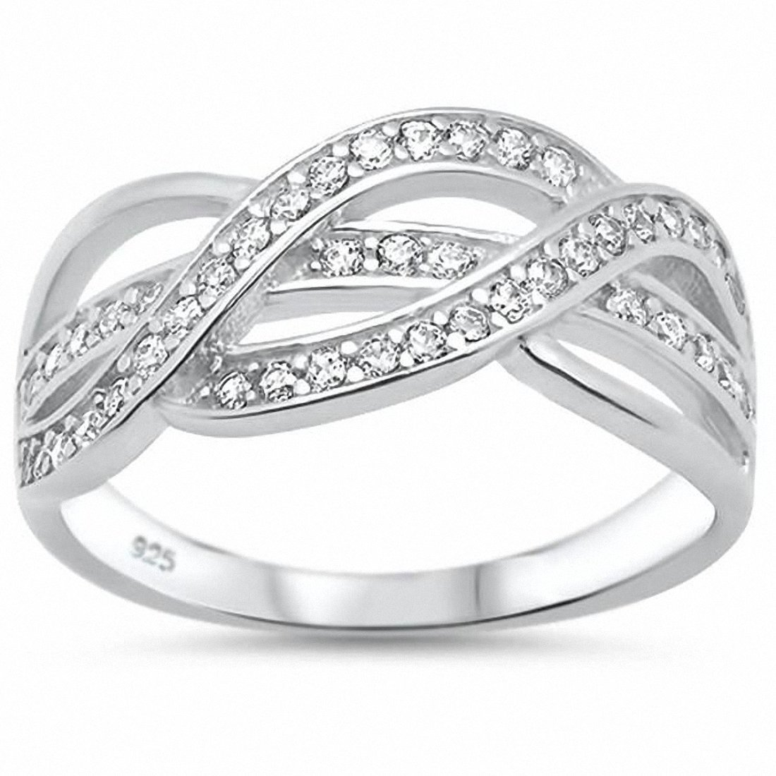 Blue Apple Co. Half Eternity Weave Knot Ring Crisscross Crossover Simulated Round Cubic Zirconia 925 Sterling SilverSize-7