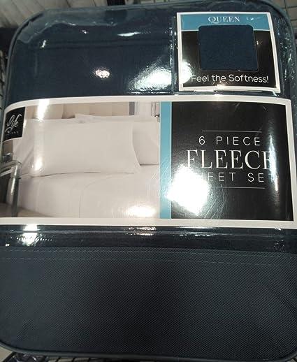 Amazon Com Life Comfort 6 Piece Fleece Sheet Set Blue Home Kitchen