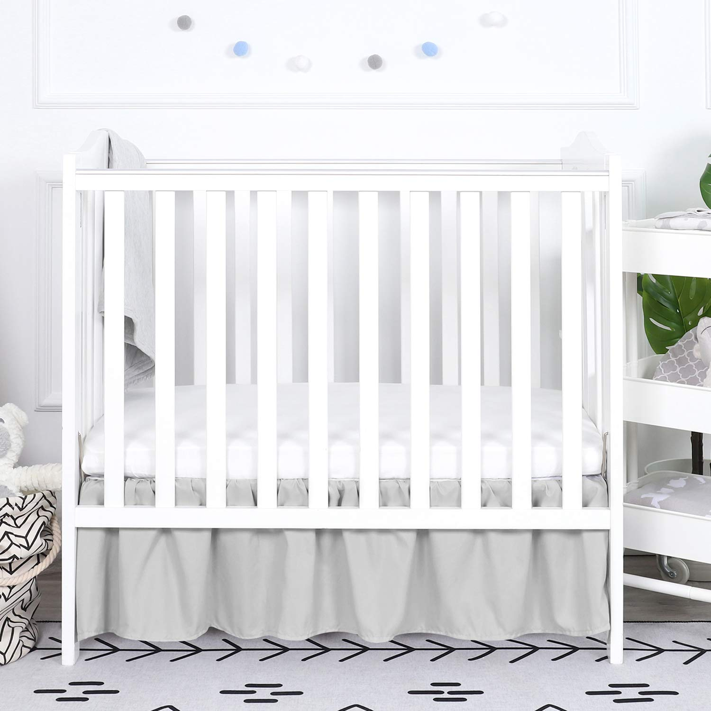 TILLYOU Gray Mini Crib Skirt Ruffled, Microfiber Portable Crib Bed Skirt for Baby Boys and Girls, 24'' X 38'', 10.5'' Drop, Pale Grey
