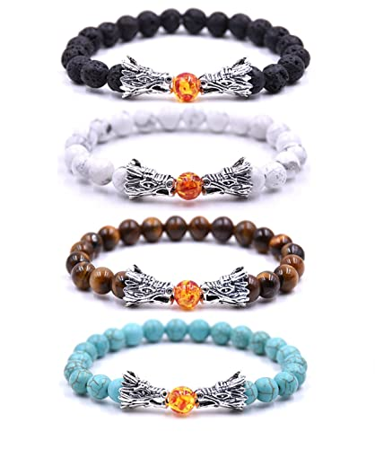 Amazon Com Evelical 4pcs 8mm Dragon Bead Bracelet For Men Women