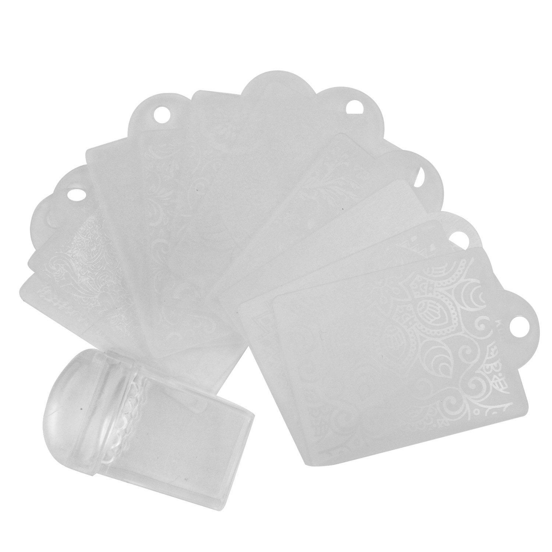 Vococal - 10 Piezas Placa de Estampación de Arte de Uñas con Sello de Silicona Transparente / Kit de Herramientas de Decor de Manicura (Estilo D)
