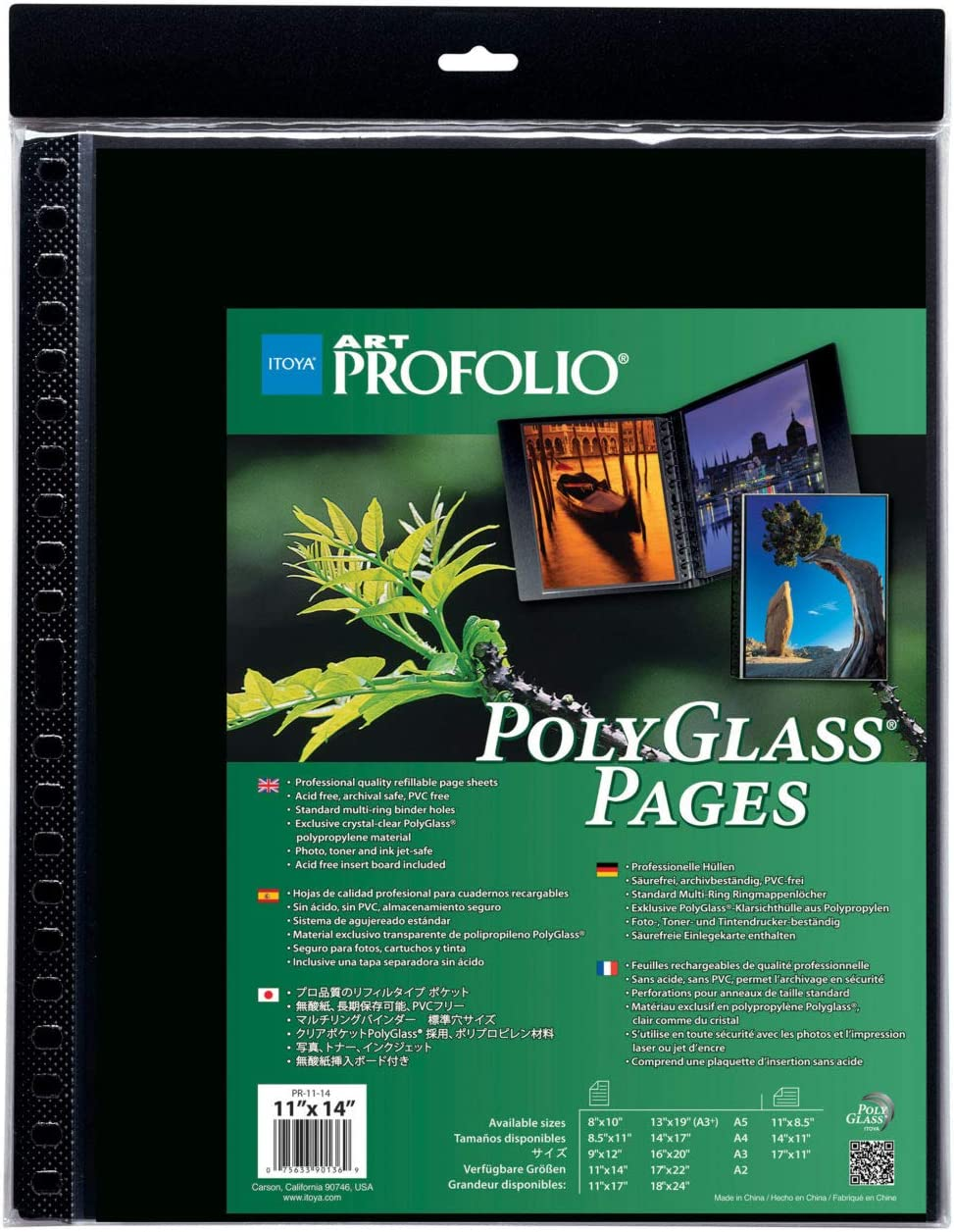 10-Pack Multi-Ring Binder Refill Pages Portrait ProFolio by Itoya 13 x 19 Inches Art ProFolio PolyGlass