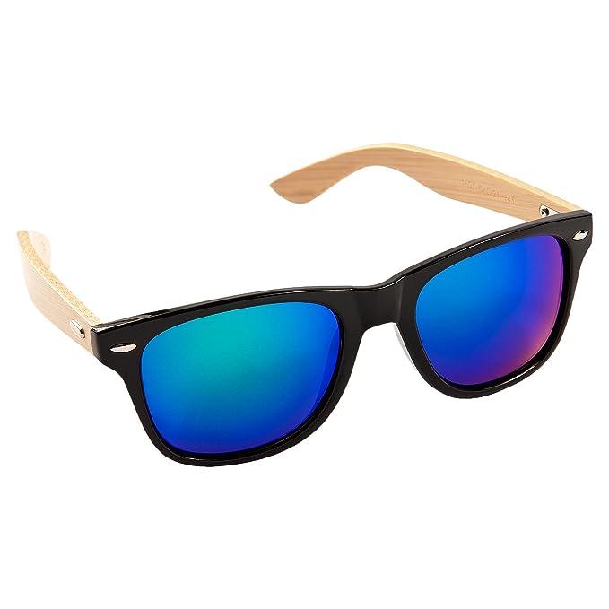ECENCE Gafas de Sol de Madera de bambú Mujer Hombre Unisex Gafas Retro en Tendencia Negro Azul 22020103