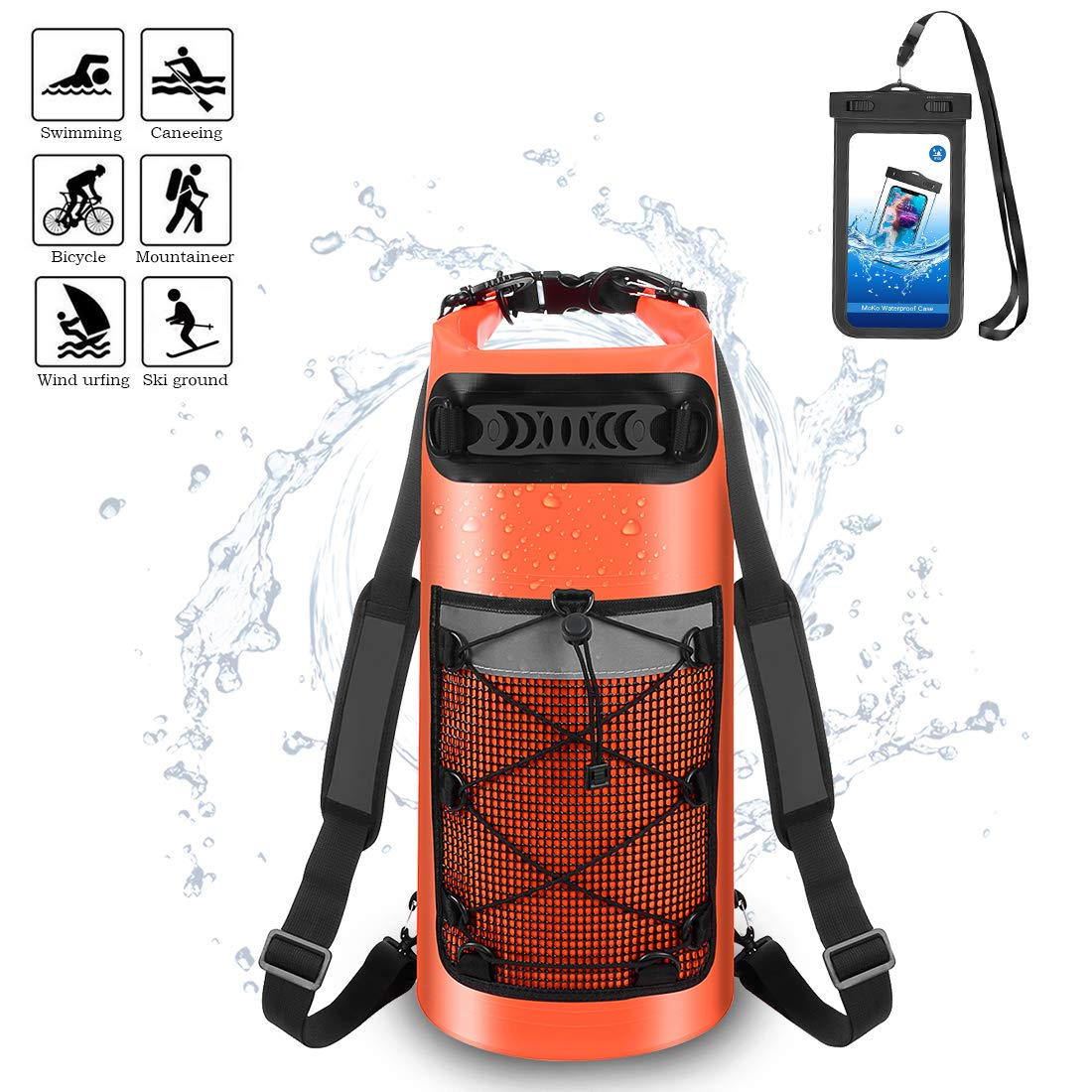 Kayaking Surfing Boating 10L 20L 30L. Rafting ALEENUN Premium Waterproof Dry Bag Camping Gifts for Men and Women Free Waterproof Phone Case Dry Backpack for Water Sports Fishing